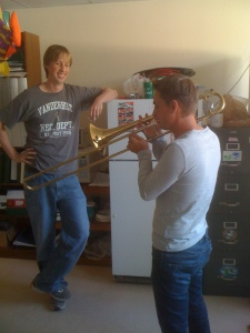 Adam (left) and Cedric (right) on a random friday afternoon in the lab: playing trombone