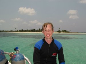 Adam scuba diving in the Caribbean